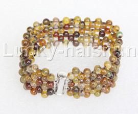 "Genuine handmade 7"" round Multicolor jade bead Choker bracelet j11984"