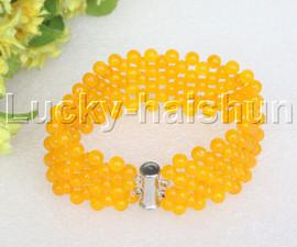 """Genuine handmade 7"""" round yellow jade bead Choker bracelet j11986"""