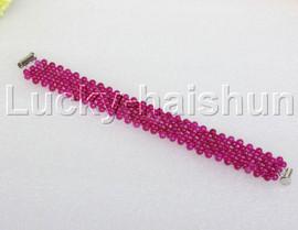 "Genuine handmade 7"" round rose red jade bead Choker bracelet j11987"