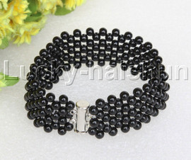 "Genuine handmade 7"" round black Onyx bead Choker bracelet j11988"