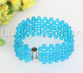 "Genuine handmade 7"" round sky blue jade bead Choker bracelet j11989"