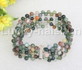 "Genuine handmade 7"" round Multicolor Onyx bead Choker bracelet j11991"