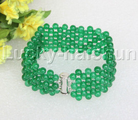 "Genuine handmade 7"" round green jade bead Choker bracelet j11992"