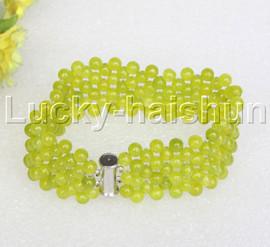 "Genuine handmade 7"" round light green jade bead Choker bracelet j11993"