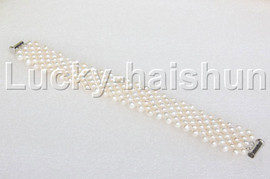 "Genuine handmade 7"" round white pearls bead Choker bracelet j11994"