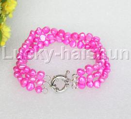 "8"" baroque 3row 8mm rose red pearls bracelet 18KGP clasp j12009"