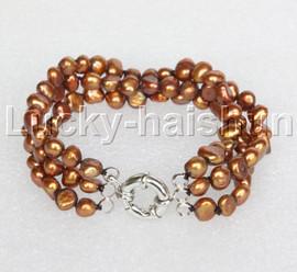 "8"" baroque 3row 8mm coffee pearls bracelet 18KGP clasp j12010"