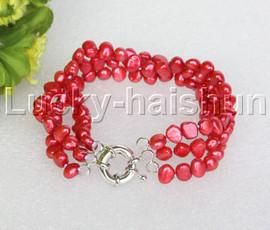"8"" baroque 3row 8mm red pearls bracelet 18KGP clasp j12011"
