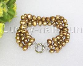 "8"" baroque 3row 8mm light coffee pearls bracelet 18KGP clasp j12013"