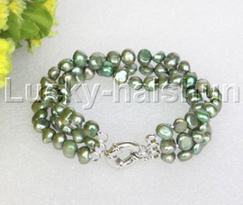 "8"" baroque 3row 8mm green pearls bracelet 18KGP clasp j12014"