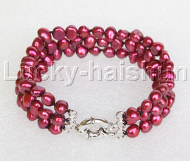 "8"" baroque 3row 8mm wine red pearls bracelet 18KGP clasp j12015"