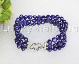 "8"" baroque 3row 8mm navy blue pearls bracelet 18KGP clasp j12016"