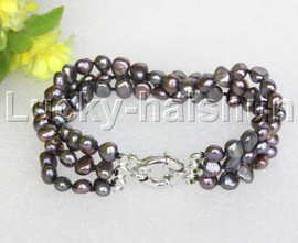 "8"" baroque 3row 8mm black pearls bracelet 18KGP clasp j12017"