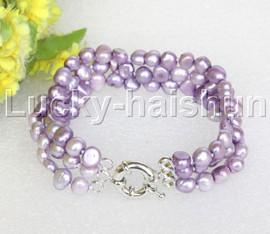 "8"" baroque 3row 8mm lavender pearls bracelet 18KGP clasp j12018"