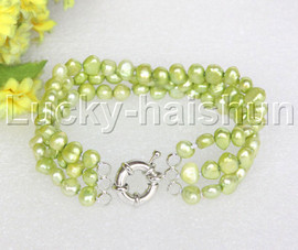 "8"" baroque 3row 8mm light green pearls bracelet 18KGP clasp j12020"