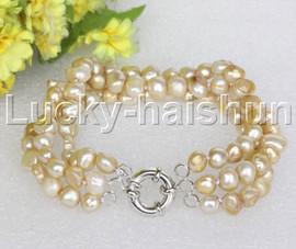"8"" baroque 3row 8mm champagne pearls bracelet 18KGP clasp j12021"