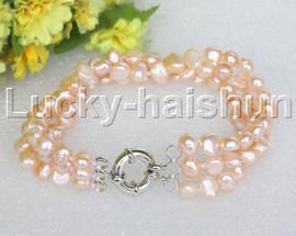 "8"" baroque 3row 8mm pink pearls bracelet 18KGP clasp j12022"