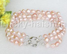 "8"" baroque 3row 8mm purple pearls bracelet 18KGP clasp j12023"