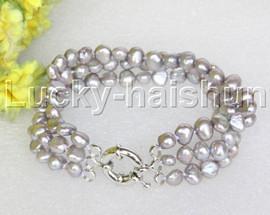 "8"" baroque 3row 8mm gray pearls bracelet 18KGP clasp j12024"