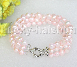 "8"" baroque 3row 8mm light pink pearls bracelet 18KGP clasp j12025"