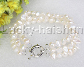 "8"" baroque 3row 8mm white pearls bracelet 18KGP clasp j12026"