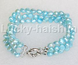 "8"" baroque 3row 8mm sky-blue pearls bracelet 18KGP clasp j12027"