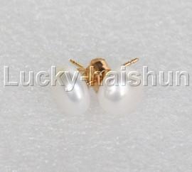 Genuine 8mm white pearl earring 14K solid gold stud j12028-2