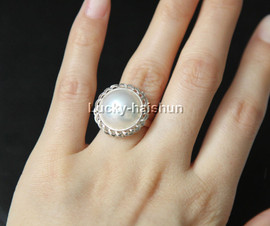 AAA 20mm adjustable sunflower blister white South Sea Mabe Pearl Rings 925 silver j12034