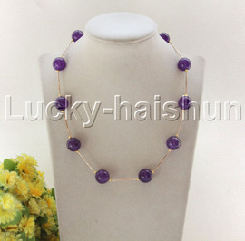 """NEW 18"""" 12mm round purple jade beads necklace gold plated clasp j12076"""