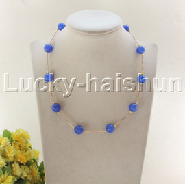 """NEW 18"""" 12mm round blue jade beads necklace gold plated clasp j12077"""