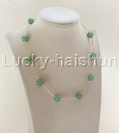 """NEW 18"""" 12mm round green jade beads necklace gold plated clasp j12078"""