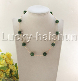 """NEW 18"""" 12mm round dark green jade beads necklace gold plated clasp j12079"""