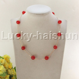 """NEW 18"""" 12mm round red jade beads necklace gold plated clasp j12080"""