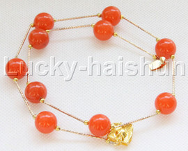 """NEW 18"""" 12mm round yellow apricot jade necklace gold plated clasp j12082"""