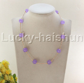 """NEW 18"""" 12mm round lavender jade necklace gold plated clasp j12083"""