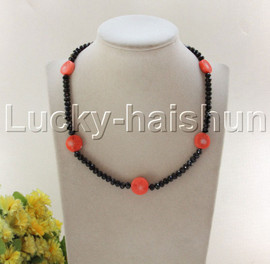 """NEW 18"""" 15mm coin pink coral black crystal necklace 18KGP clasp j12085"""