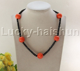 "NEW 18"" 18mm pink coral black crystal necklace 18KGP clasp j12086"