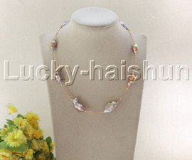 """NEW 18"""" 20mm purple Reborn keshi pearls necklace gold plated clasp j12087"""