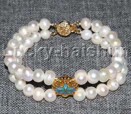 "8"" 7mm 2row near round white freshwater pearls cloisonne bracelet j12114"