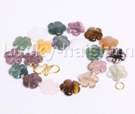 "natural 17"" 20mm baroque snowflake Multicolor jade agate necklace j12118"