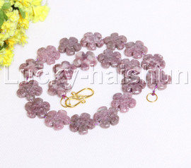 "natural 17"" 20mm baroque snowflake purple jade necklace j12119"