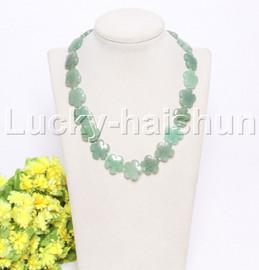 "natural 17"" 20mm baroque snowflake green jade necklace j12122"