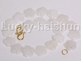 """natural 17"""" 20mm baroque snowflake white jade necklace j12123"""