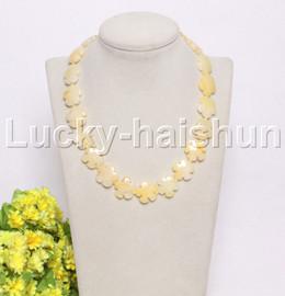 "natural 17"" 20mm baroque snowflake yellow jade necklace j12124"
