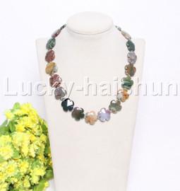 """natural 17"""" 20mm baroque snowflake Multicolor jade necklace j12126"""