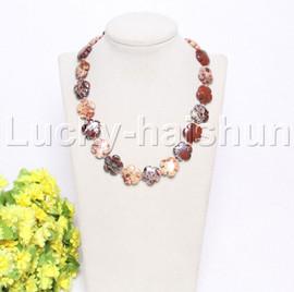 "natural 17"" 20mm baroque snowflake Multi-color jade necklace j12127"