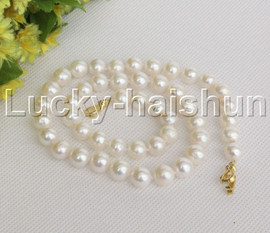 """natural 17"""" 10mm round white freshwater pearls necklace gold plated clasp j12147"""