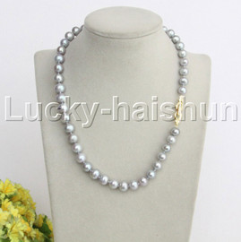 """natural 17"""" 10mm round gray freshwater pearls necklace gold plated clasp j12149"""