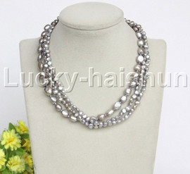 """Baroque 16"""" 3row gray freshwater pearls necklace 18KGP clasp j12156"""