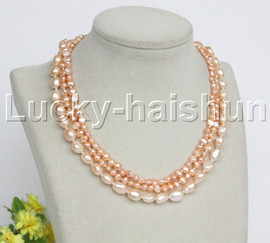 "Baroque 16"" 3row pink freshwater pearls necklace 18KGP clasp j12164"